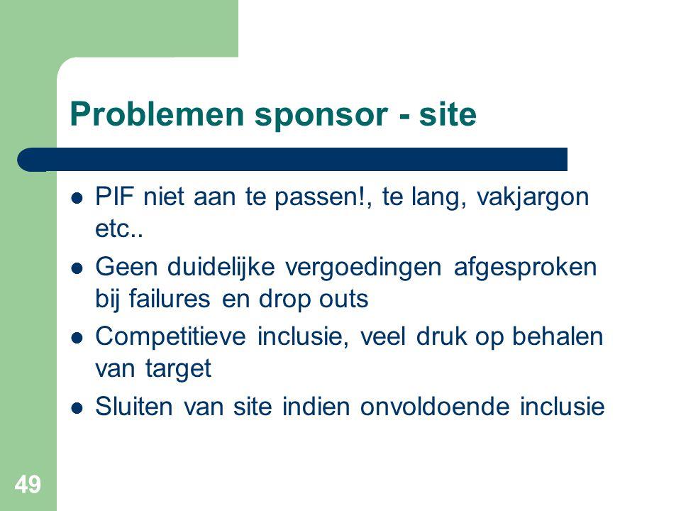 49 Problemen sponsor - site  PIF niet aan te passen!, te lang, vakjargon etc..  Geen duidelijke vergoedingen afgesproken bij failures en drop outs 
