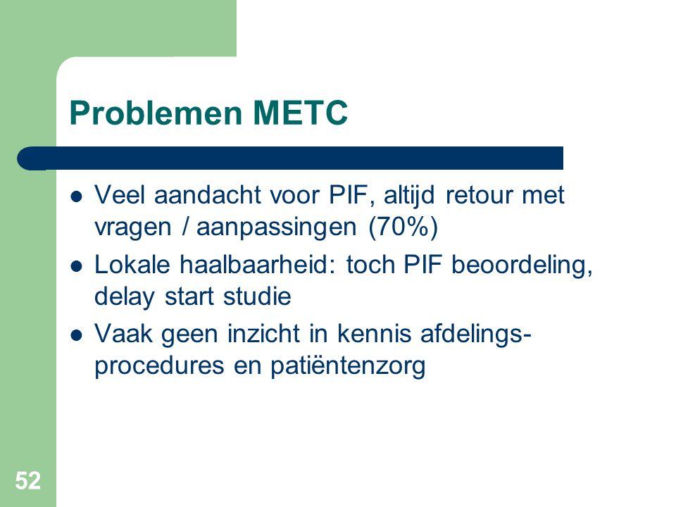 52 Problemen METC  Veel aandacht voor PIF, altijd retour met vragen / aanpassingen (70%)  Lokale haalbaarheid: toch PIF beoordeling, delay start studie  Vaak geen inzicht in kennis afdelings- procedures en patiëntenzorg