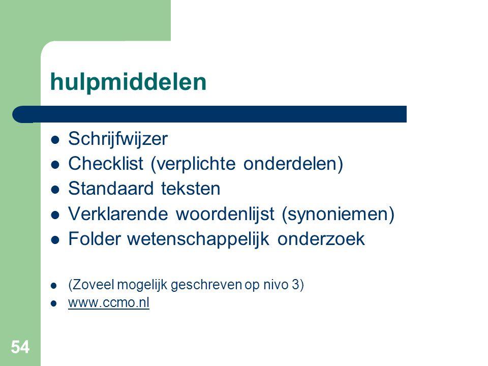 54 hulpmiddelen  Schrijfwijzer  Checklist (verplichte onderdelen)  Standaard teksten  Verklarende woordenlijst (synoniemen)  Folder wetenschappelijk onderzoek  (Zoveel mogelijk geschreven op nivo 3)  www.ccmo.nl www.ccmo.nl