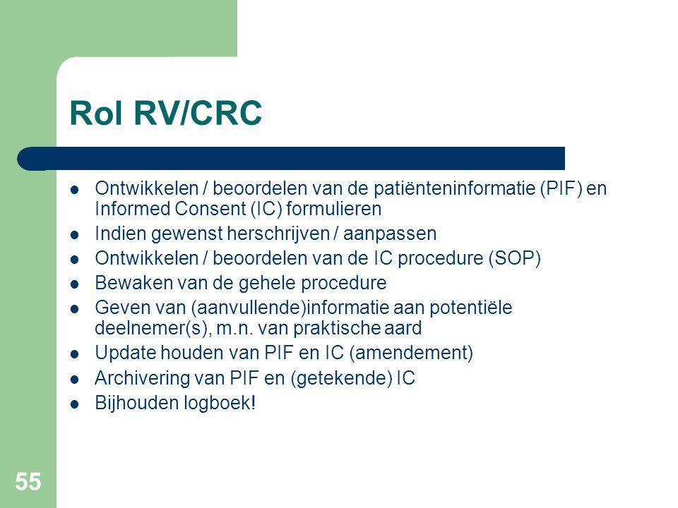 55 Rol RV/CRC  Ontwikkelen / beoordelen van de patiënteninformatie (PIF) en Informed Consent (IC) formulieren  Indien gewenst herschrijven / aanpassen  Ontwikkelen / beoordelen van de IC procedure (SOP)  Bewaken van de gehele procedure  Geven van (aanvullende)informatie aan potentiële deelnemer(s), m.n.