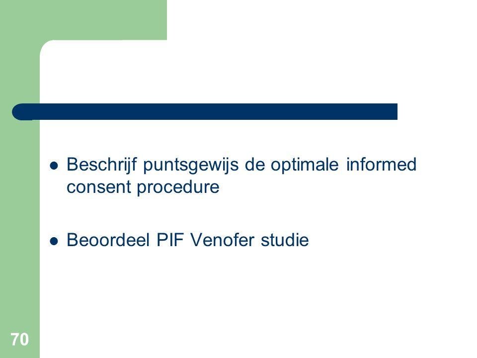 70  Beschrijf puntsgewijs de optimale informed consent procedure  Beoordeel PIF Venofer studie