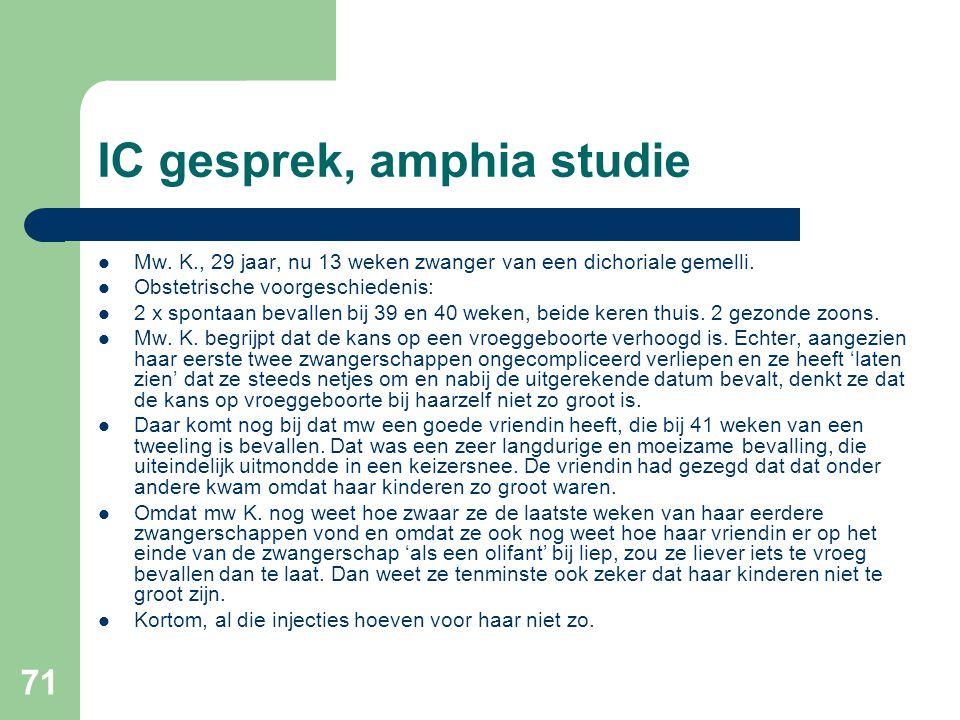 71 IC gesprek, amphia studie  Mw. K., 29 jaar, nu 13 weken zwanger van een dichoriale gemelli.  Obstetrische voorgeschiedenis:  2 x spontaan bevall