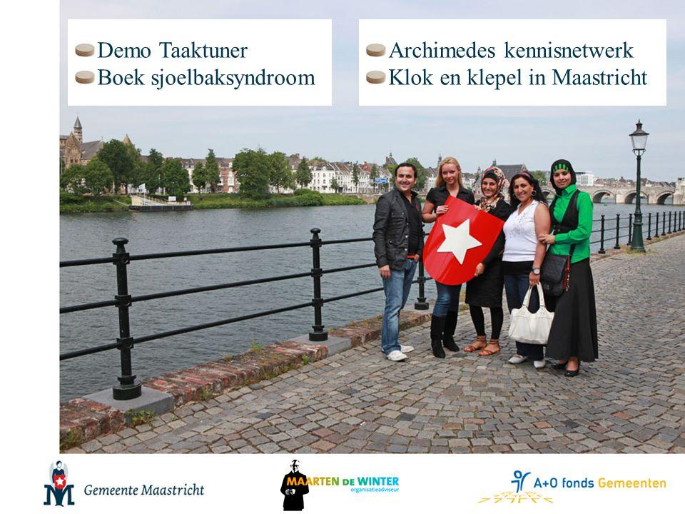 Archimedes kennisnetwerk Klok en klepel in Maastricht Demo Taaktuner Boek sjoelbaksyndroom