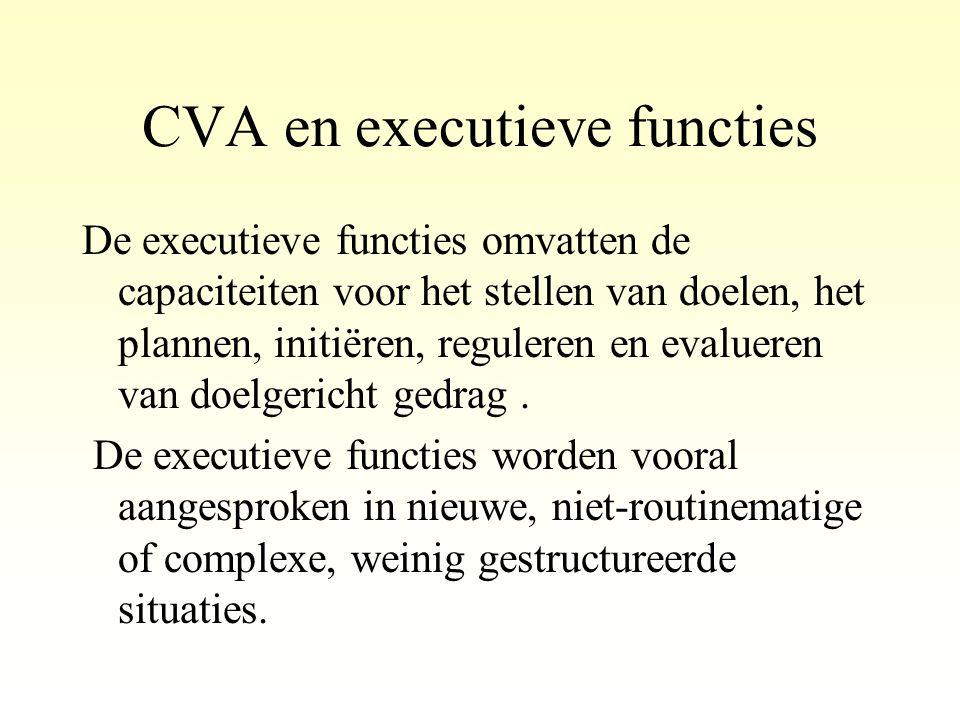 CVA en executieve functies De executieve functies omvatten de capaciteiten voor het stellen van doelen, het plannen, initiëren, reguleren en evalueren