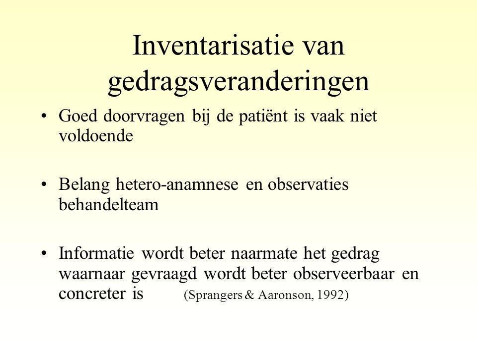 Inventarisatie van gedragsveranderingen •Goed doorvragen bij de patiënt is vaak niet voldoende •Belang hetero-anamnese en observaties behandelteam •In