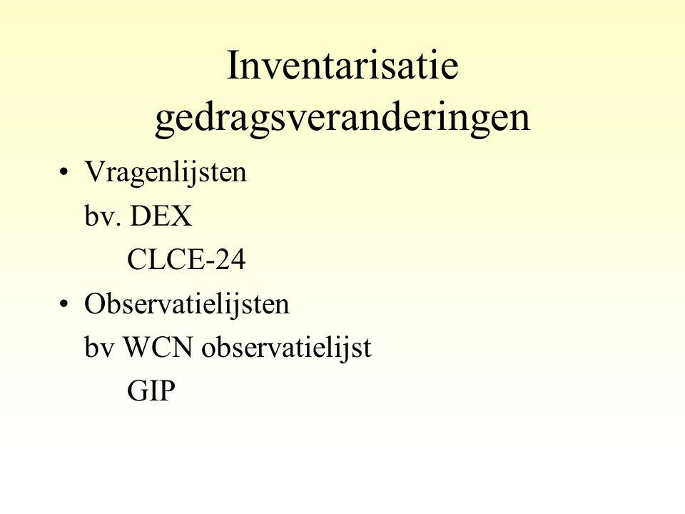 Inventarisatie gedragsveranderingen •Vragenlijsten bv. DEX CLCE-24 •Observatielijsten bv WCN observatielijst GIP