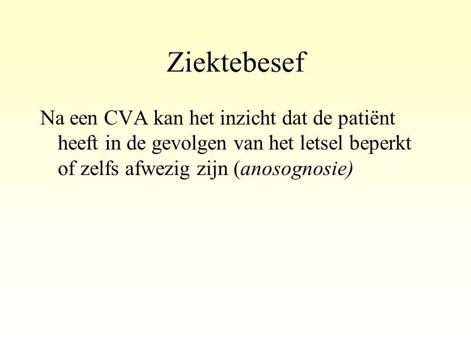 Ziektebesef Na een CVA kan het inzicht dat de patiënt heeft in de gevolgen van het letsel beperkt of zelfs afwezig zijn (anosognosie)