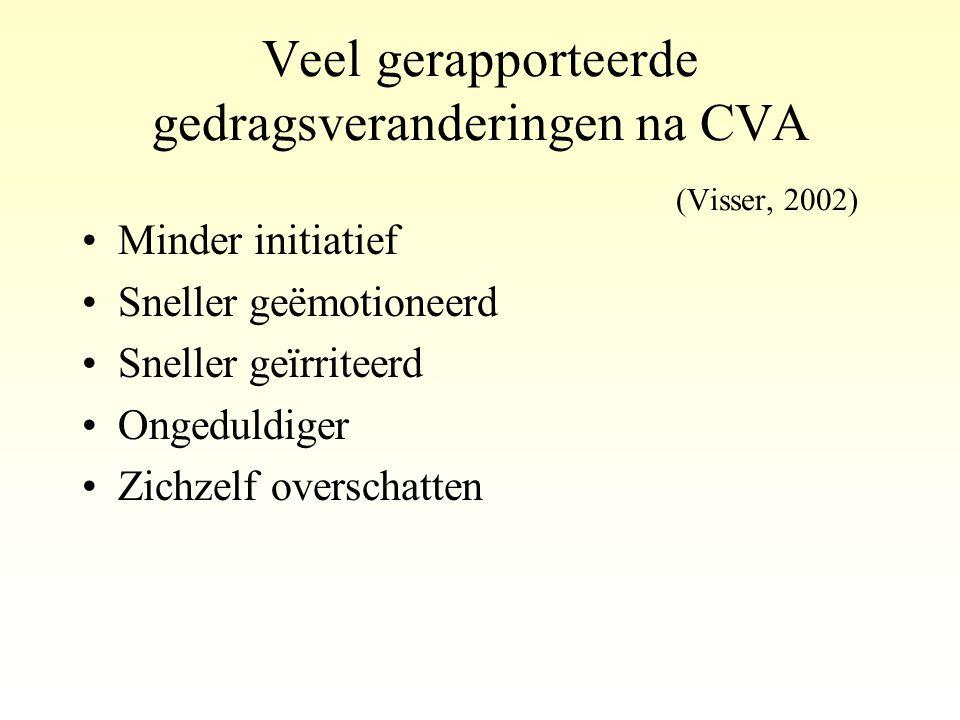 Veel gerapporteerde gedragsveranderingen na CVA (Visser, 2002) •Minder initiatief •Sneller geëmotioneerd •Sneller geïrriteerd •Ongeduldiger •Zichzelf