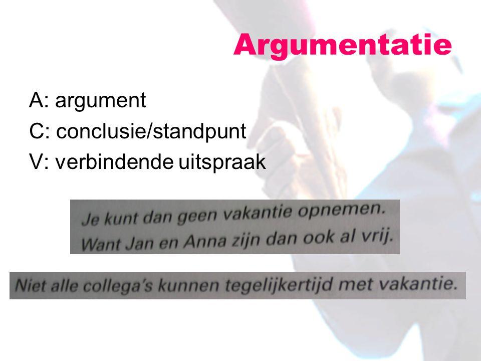 A: argument C: conclusie/standpunt V: verbindende uitspraak Argumentatie