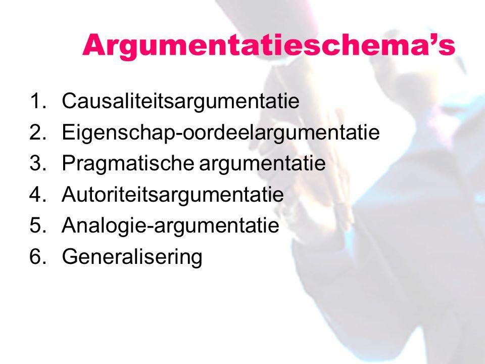 1.Causaliteitsargumentatie 2.Eigenschap-oordeelargumentatie 3.Pragmatische argumentatie 4.Autoriteitsargumentatie 5.Analogie-argumentatie 6.Generalisering Argumentatieschema's