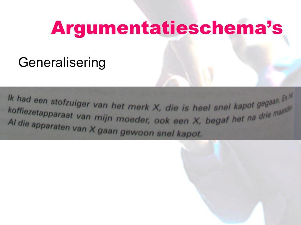 Generalisering Argumentatieschema's