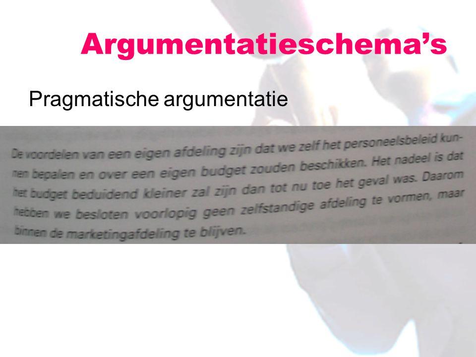 Pragmatische argumentatie Argumentatieschema's
