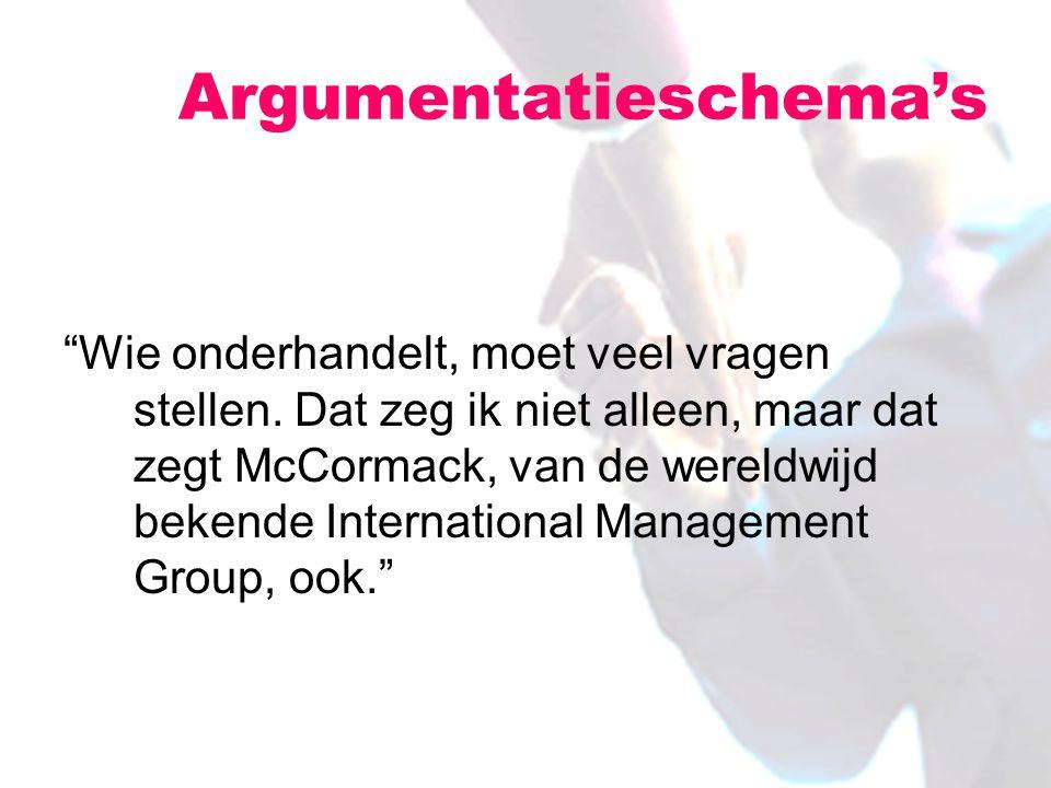 """""""Wie onderhandelt, moet veel vragen stellen. Dat zeg ik niet alleen, maar dat zegt McCormack, van de wereldwijd bekende International Management Group"""
