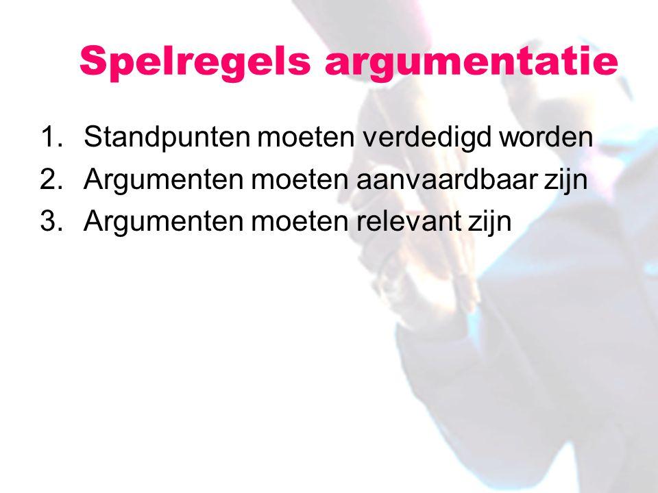 1.Standpunten moeten verdedigd worden 2.Argumenten moeten aanvaardbaar zijn 3.Argumenten moeten relevant zijn Spelregels argumentatie