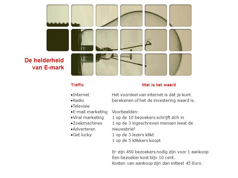 De helderheid van E-mark E-mark Solutions bv Adres:Wilhelminastraat 9 2011 VH Haarlem Websitewww.e-mark.nlwww.e-mark.nl E-mailubbo@e-mark.nlubbo@e-mark.nl Tel:023-5518899 Fax:06-50216585