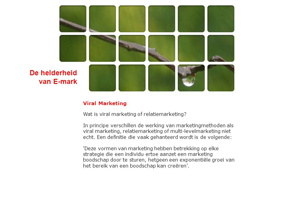 De helderheid van E-mark Viral Marketing Wat is viral marketing of relatiemarketing? In principe verschillen de werking van marketingmethoden als vira