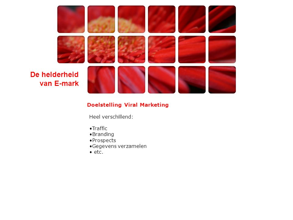 De helderheid van E-mark Doelstelling Viral Marketing Heel verschillend: •Traffic •Branding •Prospects •Gegevens verzamelen • etc.