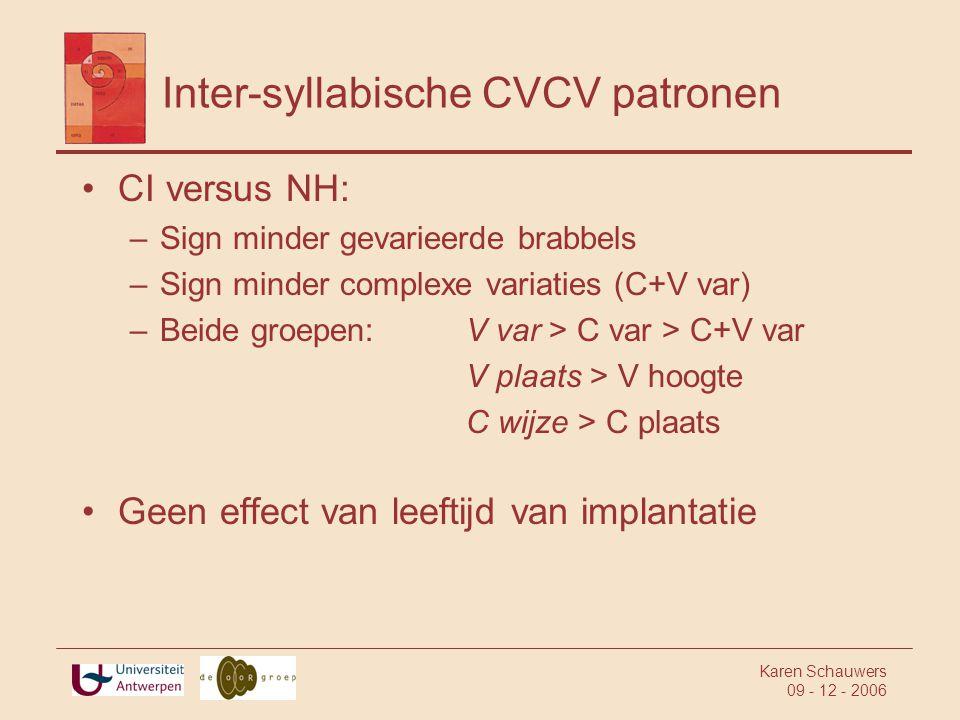 Karen Schauwers 09 - 12 - 2006 Inter-syllabische CVCV patronen •CI versus NH: –Sign minder gevarieerde brabbels –Sign minder complexe variaties (C+V var) –Beide groepen:V var > C var > C+V var V plaats > V hoogte C wijze > C plaats •Geen effect van leeftijd van implantatie