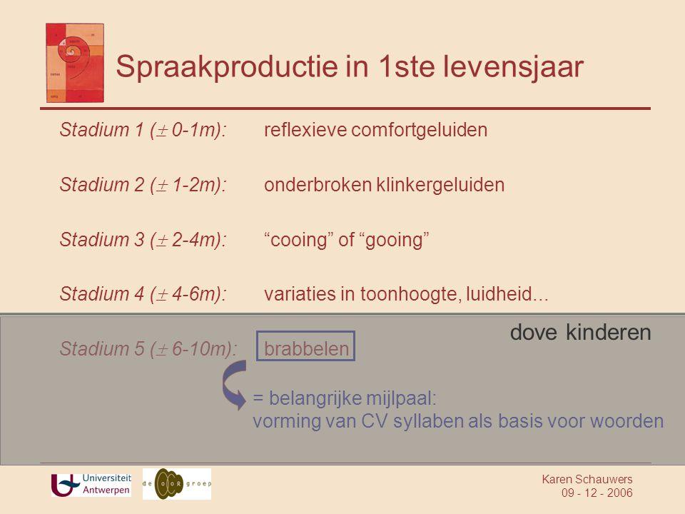 Karen Schauwers 09 - 12 - 2006 Spraakproductie in 1ste levensjaar Stadium 1 (  0-1m):reflexieve comfortgeluiden Stadium 2 (  1-2m):onderbroken klinkergeluiden Stadium 3 (  2-4m): cooing of gooing Stadium 4 (  4-6m):variaties in toonhoogte, luidheid...