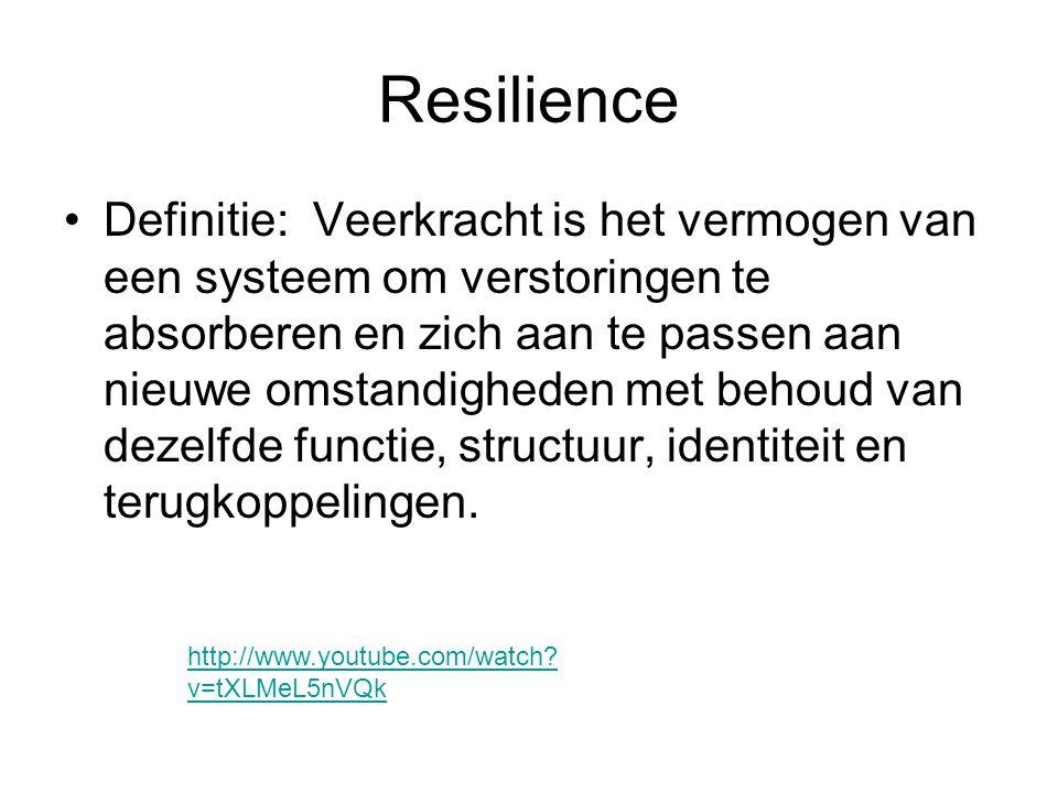 Resilience •Definitie: Veerkracht is het vermogen van een systeem om verstoringen te absorberen en zich aan te passen aan nieuwe omstandigheden met be