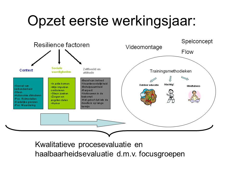 Opzet eerste werkingsjaar: Spelconcept Flow Kwalitatieve procesevaluatie en haalbaarheidsevaluatie d.m.v. focusgroepen Videomontage