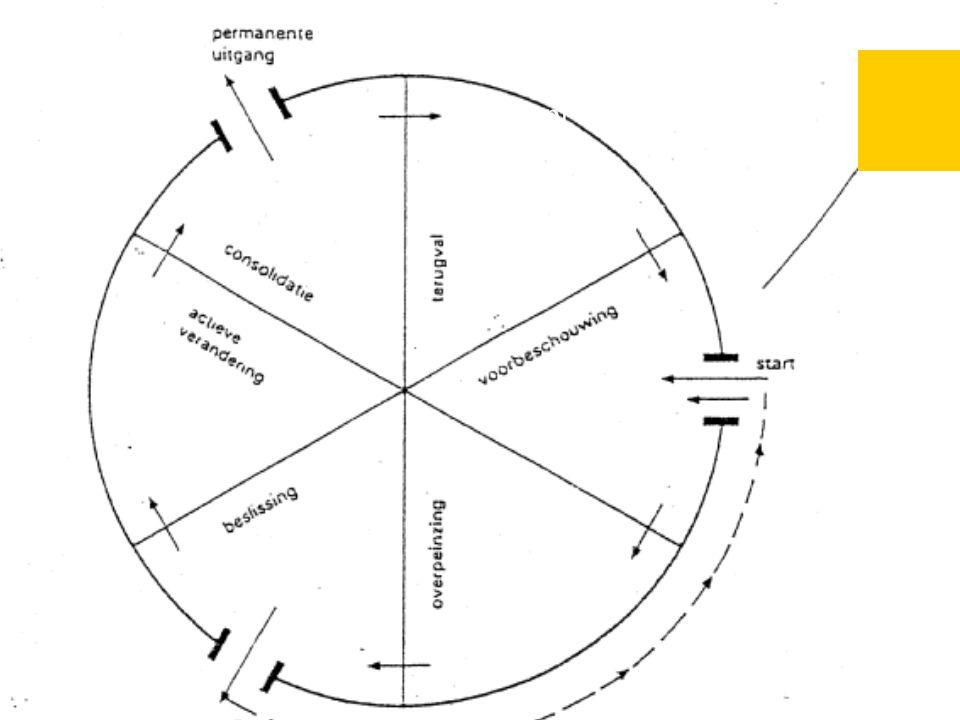 motiveringstechnieken Actief luisteren: reflecteren, empathie, samenvatten, structureren Selectief luisteren Bekrachtigen van tekenen van lijdensdruk, bewustzijn van probleem, gevoel van eigenwaarde, competentie Positief labelen van klachten/problemen