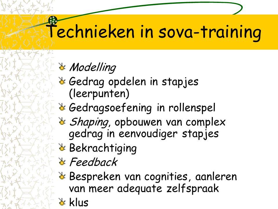 Inleidende vaardigheden SOVA-training 1.Kennismaking, vragen stellen & luisteren 2.Gevoelens en iets aardigs zeggen over jezelf 3.Complimentjes geven/ontvangen 4.Nonverbaal gedrag