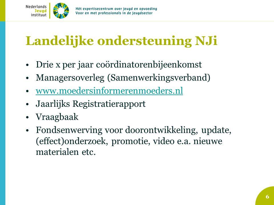 Landelijke ondersteuning NJi •Drie x per jaar coördinatorenbijeenkomst •Managersoverleg (Samenwerkingsverband) •www.moedersinformerenmoeders.nlwww.moe