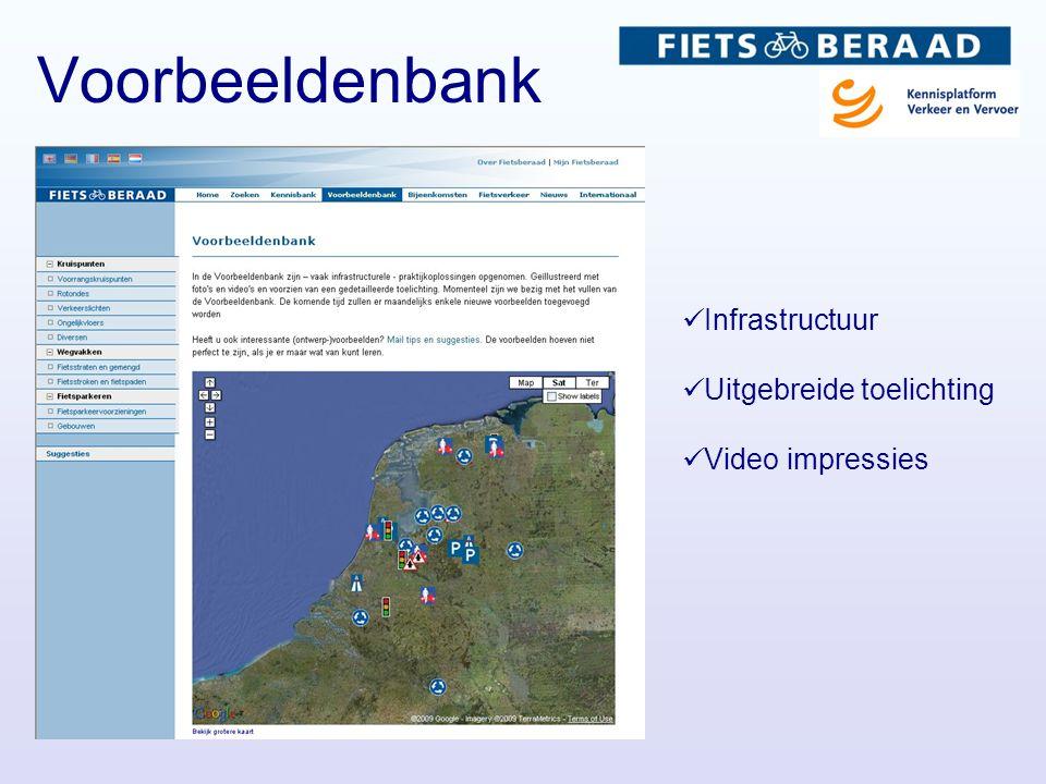  Infrastructuur  Uitgebreide toelichting  Video impressies Voorbeeldenbank