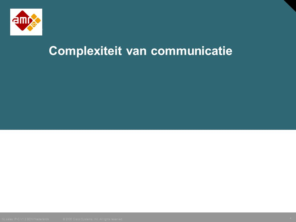 4 © 2006 Cisco Systems, Inc. All rights reserved. NL sales IP-C V1.2 BDM/Nederlands Complexiteit van communicatie