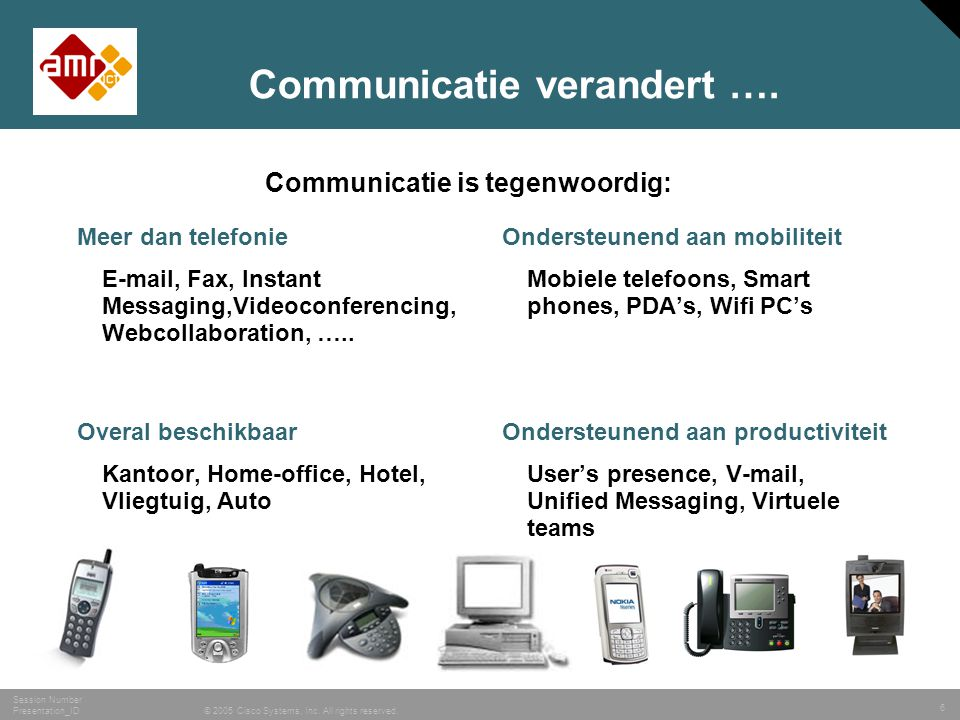 6 © 2005 Cisco Systems, Inc. All rights reserved. Session Number Presentation_ID Communicatie verandert …. Meer dan telefonie E-mail, Fax, Instant Mes