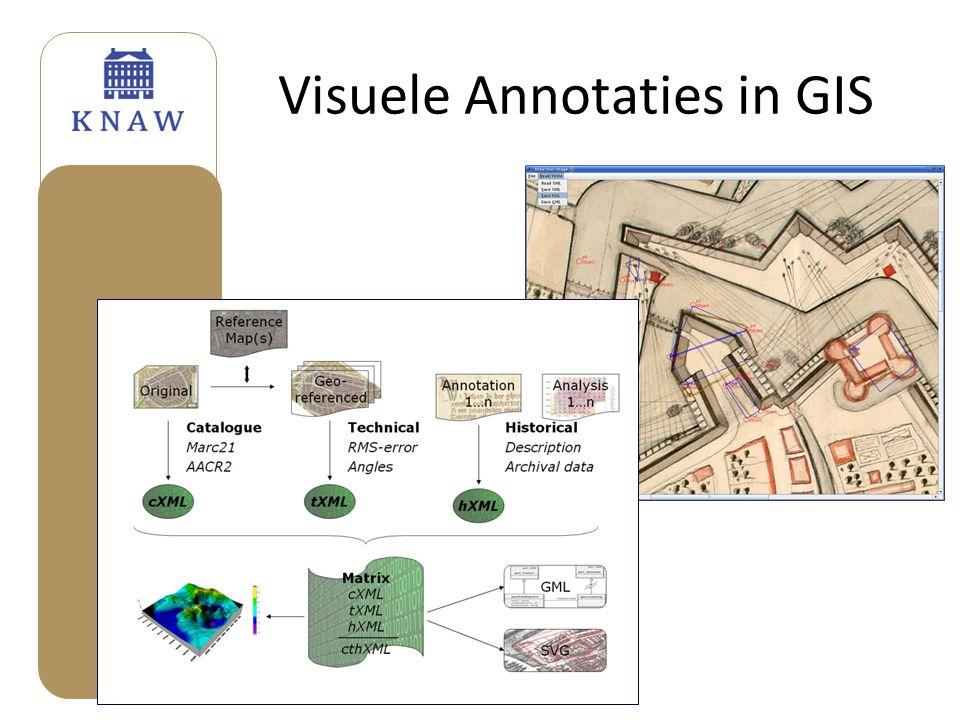 Web-based Annotation • Koppeling annotaties aan niet GIS applicaties (denk aan Leen's RICH applications and Google Mash-Ups • Koppeling xml en kml