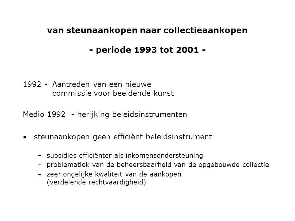1992 -Aantreden van een nieuwe commissie voor beeldende kunst Medio 1992 - herijking beleidsinstrumenten •steunaankopen geen efficiënt beleidsinstrument –subsidies efficiënter als inkomensondersteuning –problematiek van de beheersbaarheid van de opgebouwde collectie –zeer ongelijke kwaliteit van de aankopen (verdelende rechtvaardigheid) van steunaankopen naar collectieaankopen - periode 1993 tot 2001 -