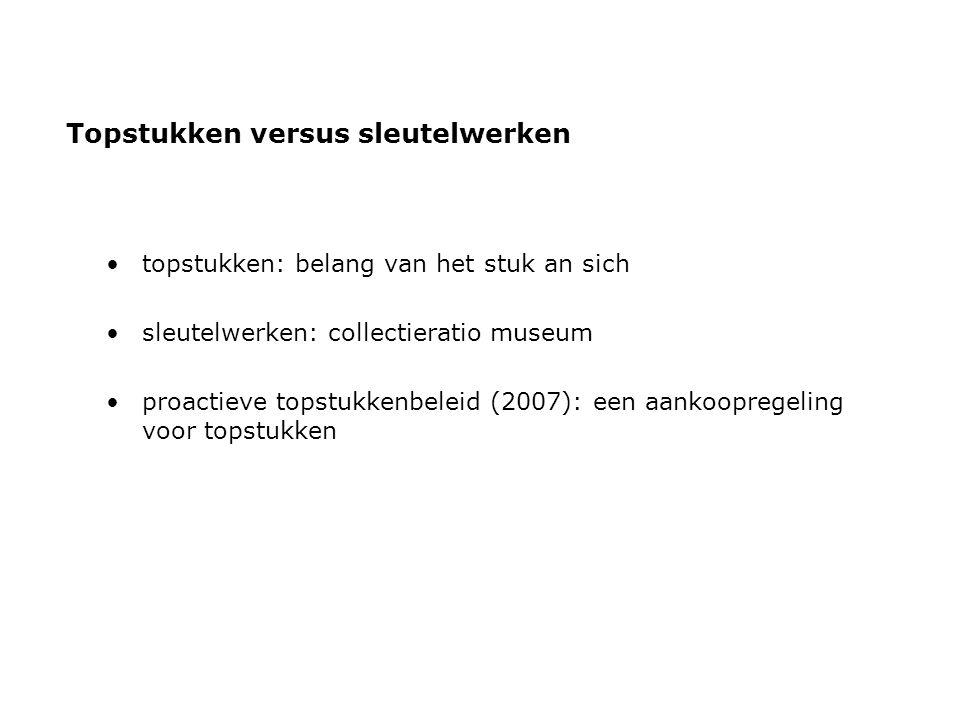 Topstukken versus sleutelwerken •topstukken: belang van het stuk an sich •sleutelwerken: collectieratio museum •proactieve topstukkenbeleid (2007): een aankoopregeling voor topstukken