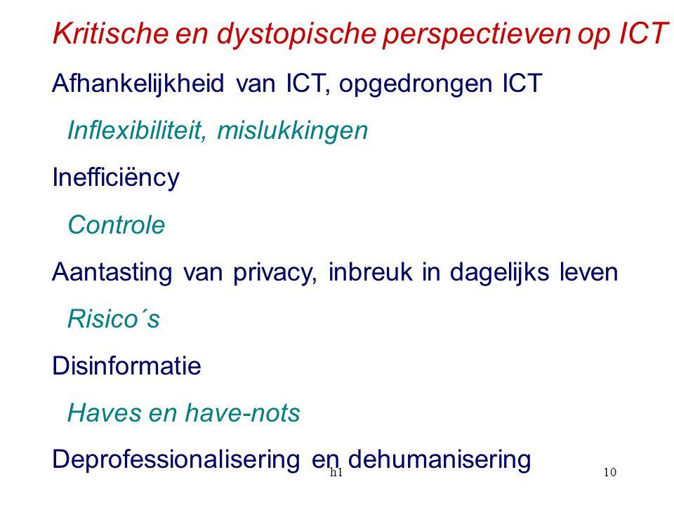 h110 Kritische en dystopische perspectieven op ICT Afhankelijkheid van ICT, opgedrongen ICT Inflexibiliteit, mislukkingen Inefficiëncy Controle Aantas