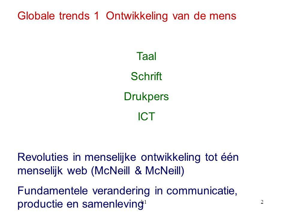 h12 Globale trends 1 Ontwikkeling van de mens Taal Schrift Drukpers ICT Revoluties in menselijke ontwikkeling tot één menselijk web (McNeill & McNeill