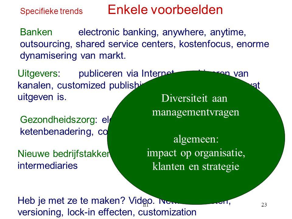 h123 Specifieke trends Enkele voorbeelden Uitgevers: publiceren via Internet, combineren van kanalen, customized publishing, opnieuw ontdekken wat uit