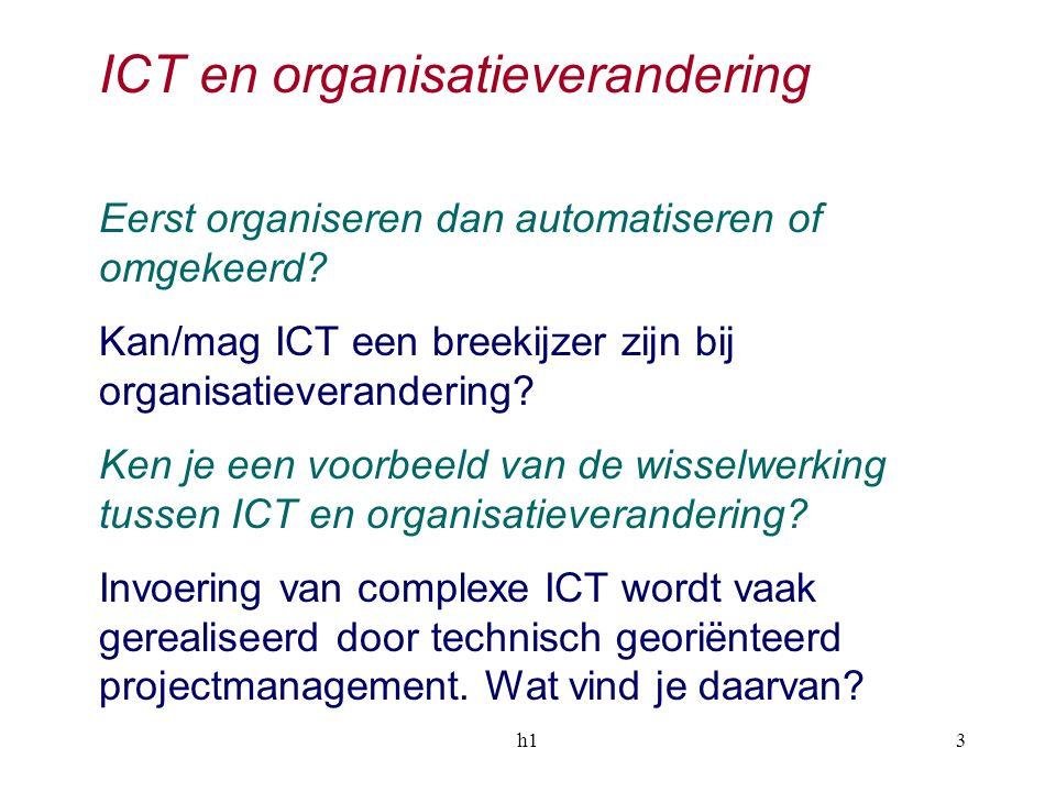 h13 ICT en organisatieverandering Eerst organiseren dan automatiseren of omgekeerd? Kan/mag ICT een breekijzer zijn bij organisatieverandering? Ken je