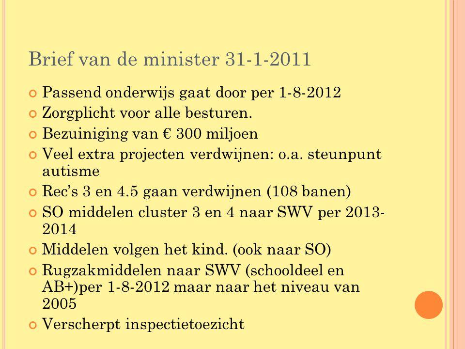 Brief van de minister 31-1-2011 Passend onderwijs gaat door per 1-8-2012 Zorgplicht voor alle besturen. Bezuiniging van € 300 miljoen Veel extra proje