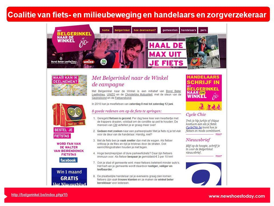 http://belgerinkel.be/index.php/15 Coalitie van fiets- en milieubeweging en handelaars en zorgverzekeraar