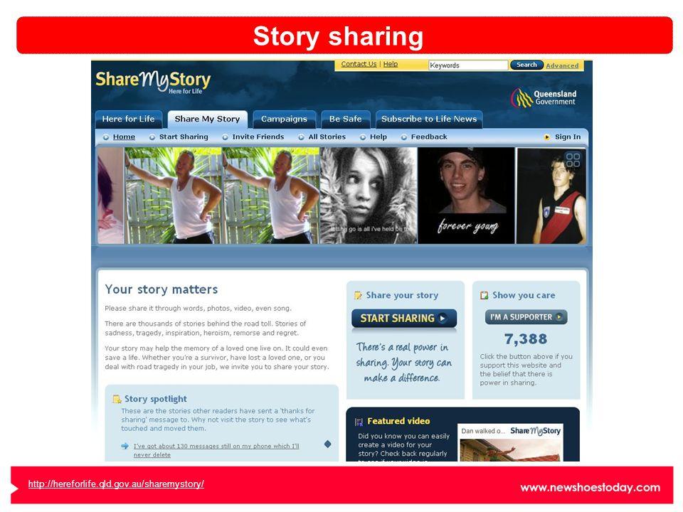 http://hereforlife.qld.gov.au/sharemystory/ Story sharing