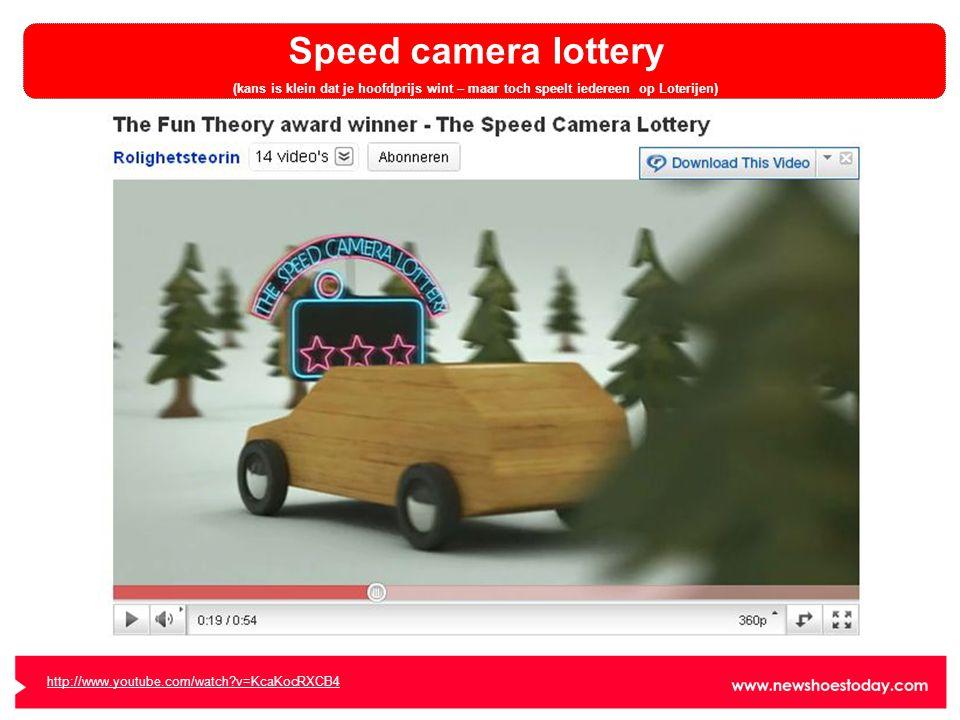 Speed camera lottery (kans is klein dat je hoofdprijs wint – maar toch speelt iedereen op Loterijen) http://www.youtube.com/watch?v=KcaKocRXCB4