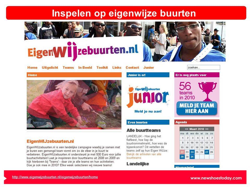 Inspelen op eigenwijze buurten http://www.eigenwijzebuurten.nl/eigenwijzebuurten/home