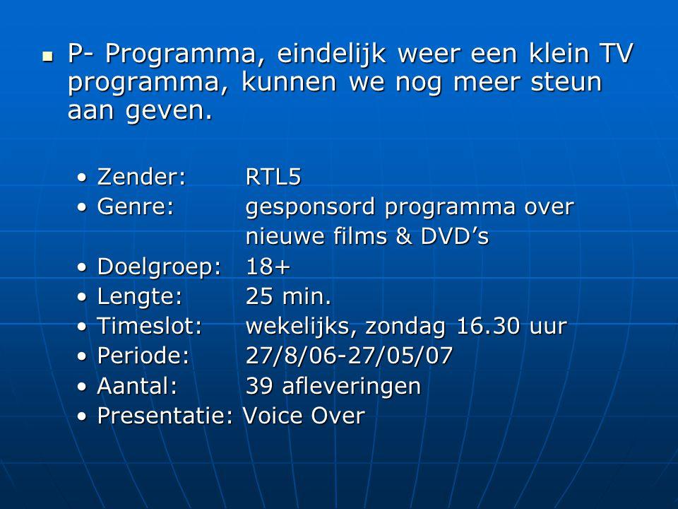  P- Programma, eindelijk weer een klein TV programma, kunnen we nog meer steun aan geven.