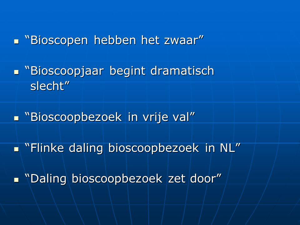  Bioscopen hebben het zwaar  Bioscoopjaar begint dramatisch slecht slecht  Bioscoopbezoek in vrije val  Flinke daling bioscoopbezoek in NL  Daling bioscoopbezoek zet door