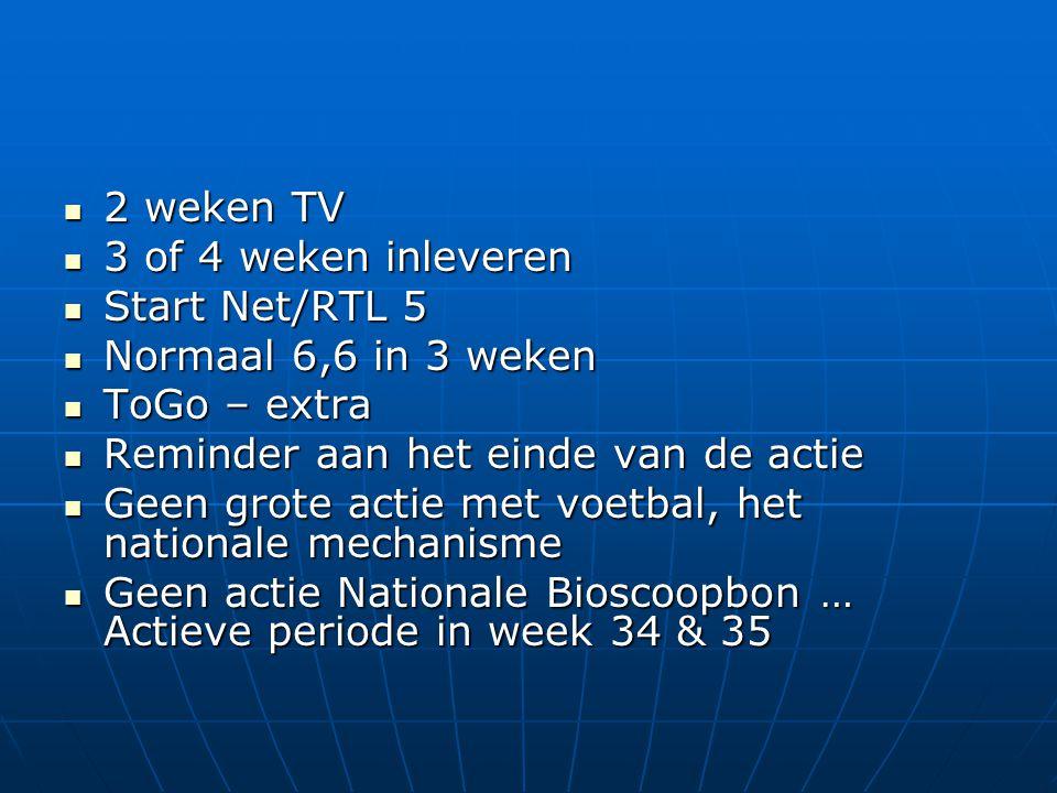  2 weken TV  3 of 4 weken inleveren  Start Net/RTL 5  Normaal 6,6 in 3 weken  ToGo – extra  Reminder aan het einde van de actie  Geen grote actie met voetbal, het nationale mechanisme  Geen actie Nationale Bioscoopbon … Actieve periode in week 34 & 35
