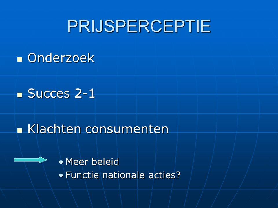 PRIJSPERCEPTIE  Onderzoek  Succes 2-1  Klachten consumenten •Meer beleid •Functie nationale acties?