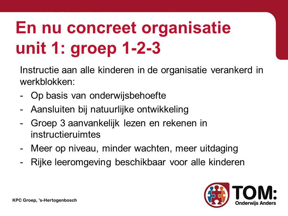 En nu concreet organisatie unit 1: groep 1-2-3 Instructie aan alle kinderen in de organisatie verankerd in werkblokken: -Op basis van onderwijsbehoeft
