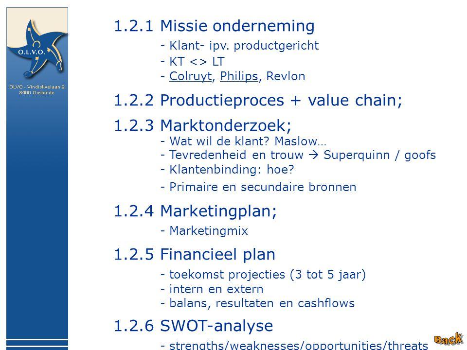 1.2.1 Missie onderneming - Klant- ipv. productgericht - KT <> LT - Colruyt, Philips, Revlon 1.2.2 Productieproces + value chain; 1.2.3 Marktonderzoek;