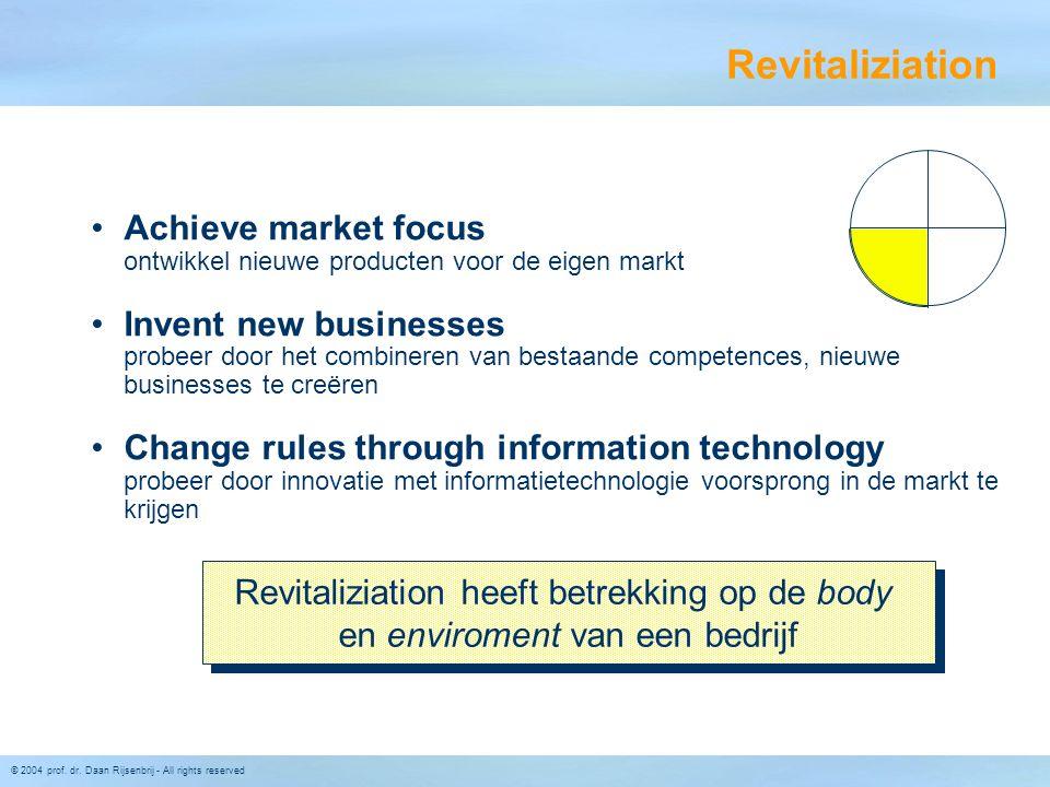 © 2004 prof. dr. Daan Rijsenbrij - All rights reserved Revitaliziation •Achieve market focus ontwikkel nieuwe producten voor de eigen markt •Invent ne